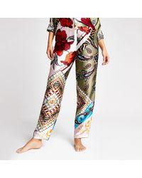 River Island Green Floral Satin Pajama Pants
