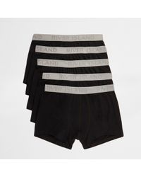 River Island - Black Branded Waistband Hipster Multipack - Lyst