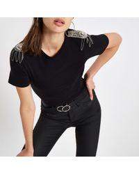 River Island - Black Diamante Shoulder Trim T-shirt - Lyst