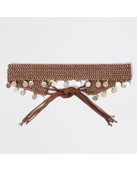 River Island - Brown Woven Coin Chain Tie Up Belt - Lyst
