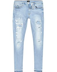 River Island - Light Ripped Ollie Skinny Spray On Jeans - Lyst
