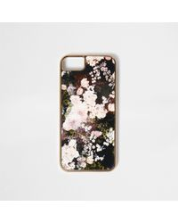River Island - Black Floral Print Phone Case - Lyst
