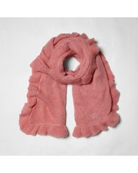 River Island - Pink Frill Trim Knitted Scarf - Lyst