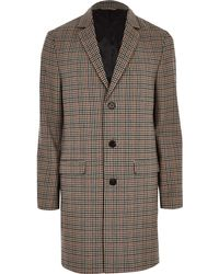 River Island - Brown Check Smart Overcoat - Lyst