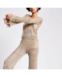 River Island Metallic Crochet Top
