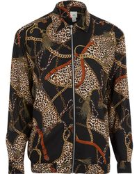 219a417861ec River Island Floral Button-down Shirt in Black for Men - Lyst