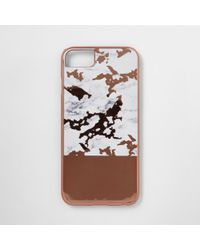 River Island - Rose Gold Tone Marble Phone Case - Lyst