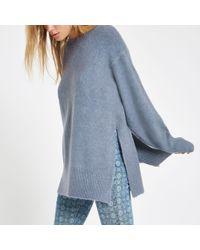 River Island - Blue Split Side Knit Jumper - Lyst
