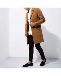 River Island - Camel Smart Overcoat - Lyst