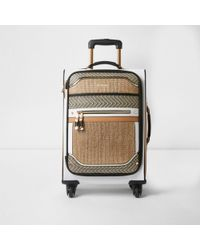 River Island | Beige Woven Panel Four Wheel Suitcase Beige Woven Panel Four Wheel Suitcase | Lyst