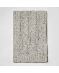 River Island - Grey Neppy Cable Knit Scarf - Lyst