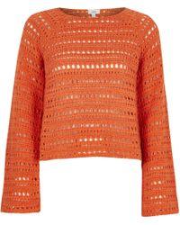 River Island - Orange Open Knit Wide Sleeve Jumper - Lyst