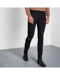 8779656b53b River Island Big And Tall Wash Ripped Jeans in Black for Men - Lyst