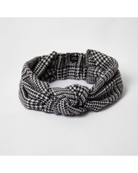 River Island - Black Dogtooth Check Knit Head Band Black Dogtooth Check Knit Head Band - Lyst