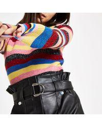 River Island - Rainbow Stripe Knit Jumper - Lyst