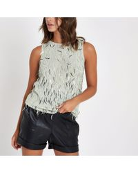 River Island - Light Grey Sequin Tank Top - Lyst