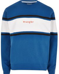 Wrangler - Blue Colour Block Sweatshirt - Lyst