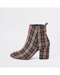 River Island - Check Print Square Toe Block Heel Boots - Lyst