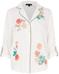 River Island - White Floral Embroidered Pyjama Shirt - Lyst