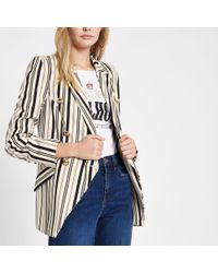 River Island - Navy Stripe Double-breasted Tuxedo Jacket - Lyst