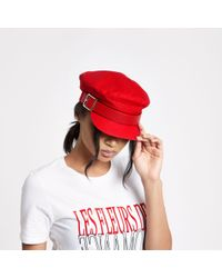 River Island - Red Buckle Baker Boy Hat - Lyst