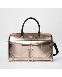 River Island - Rose Gold Metallic Weekend Bag - Lyst