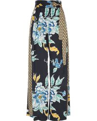 River Island - Navy Floral Print Satin Wide Leg Trousers - Lyst