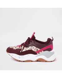 River Island - Dark Red Layered Sole Lace-up Trainers - Lyst