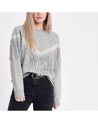 River Island - Petite Grey Marl Aztec Fringe Sweatshirt - Lyst