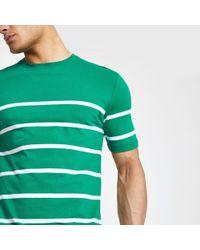 River Island - Minimum Green Stripe T-shirt - Lyst