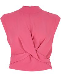 River Island - Bright Pink Twist Front High Neck Crop Top - Lyst