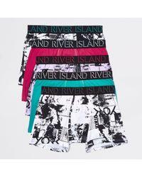 River Island - Ri Print Trunks Multipack - Lyst