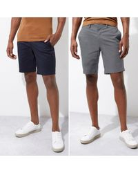 River Island - Navy And Grey Chino Shorts Two Pack - Lyst