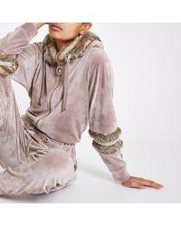 River Island - Light Velour Faux Fur Trim Jumpsuit - Lyst