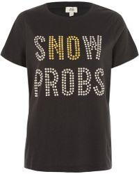 River Island - Grey 'snow Probs' Stud Detail T-shirt - Lyst