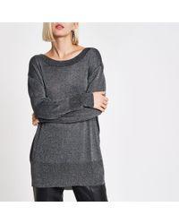 River Island - Knit Metallic Stitch Crew Neck Sweater - Lyst