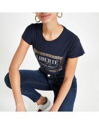 River Island - Navy Foil Box Print T-shirt - Lyst