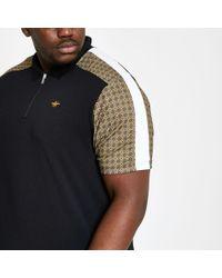 716bdb24 River Island - Big And Tall Black Tile Print Zip Polo Shirt - Lyst