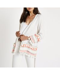 River Island - Cream Aztec Embroidered Tassel Beach Kimono - Lyst