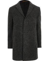 River Island - Dark Grey Jack & Jones Premier Coat Dark Grey Jack & Jones Premier Coat - Lyst