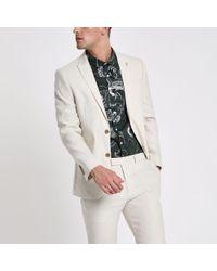 River Island - Cream Linen Blend Slim Fit Suit Jacket - Lyst