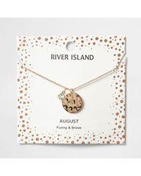 River Island - Light Green Gem August Birthstone Necklace - Lyst