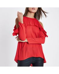 River Island - Red Cold Shoulder Pleated Frill Blouse - Lyst