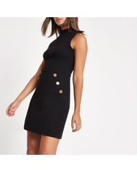 River Island - Black Ponte Button Side Mini Dress - Lyst