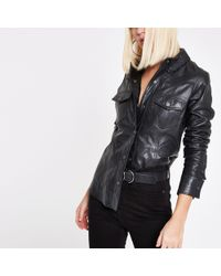 River Island - Ri Studio Black Leather Popper Front Shirt - Lyst