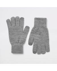 River Island - Dark Ribbed Cuff Gloves - Lyst