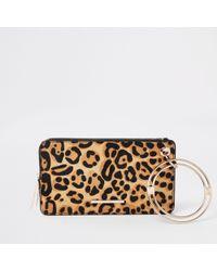 River Island - Leather Leopard Print Wristlet Pouch - Lyst