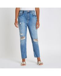 River Island - Blue Premium Crop Kickflare Ripped Jeans - Lyst
