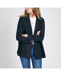 River Island - Navy Double Breasted Blazer - Lyst