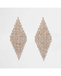 River Island - Gold Tone Diamond Pave Drop Earrings - Lyst